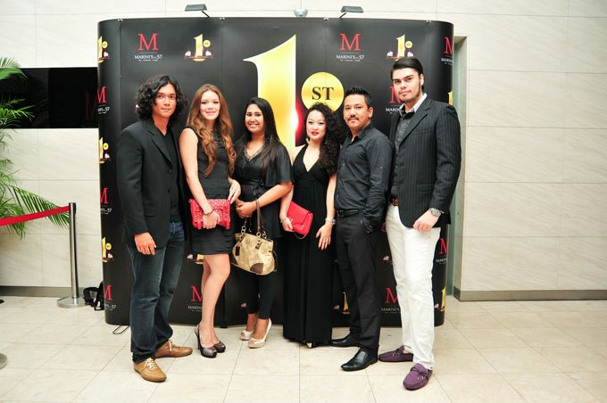 [From Left to Right] Syarul, Natasha, Serena, Sumisha, Oz, Simon at Marini's on 57's First Year Anniversary