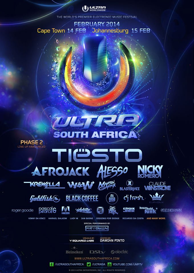 Ultra South Africa 2014 Phase 2 DJ Lineup