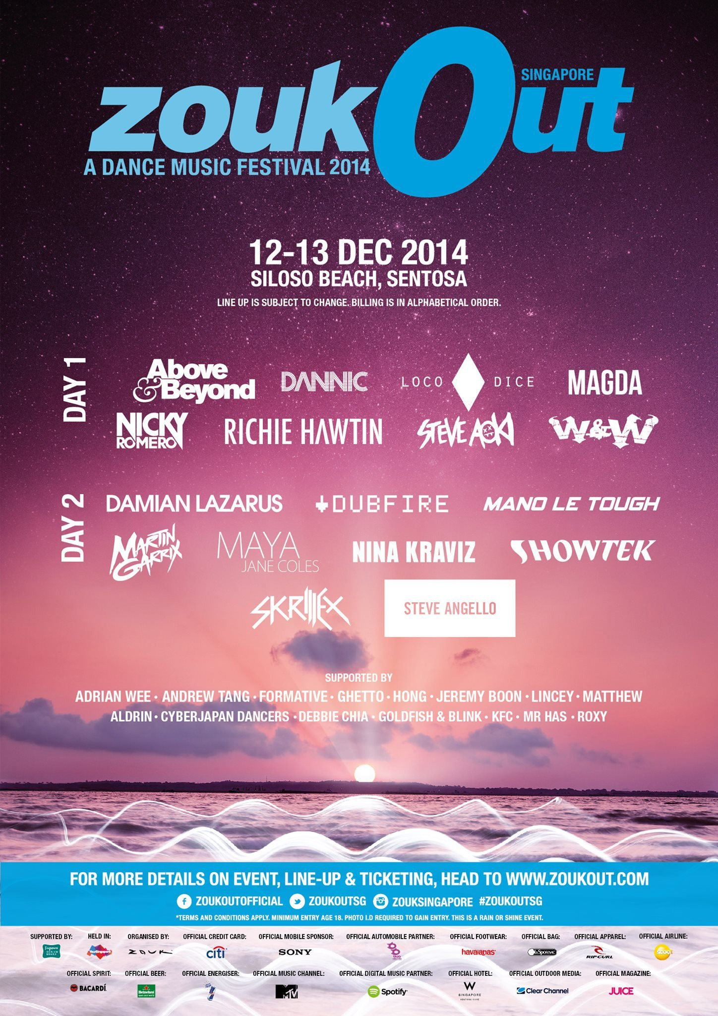 ZoukOut 2014 Full Line Up – DJs To Watch For