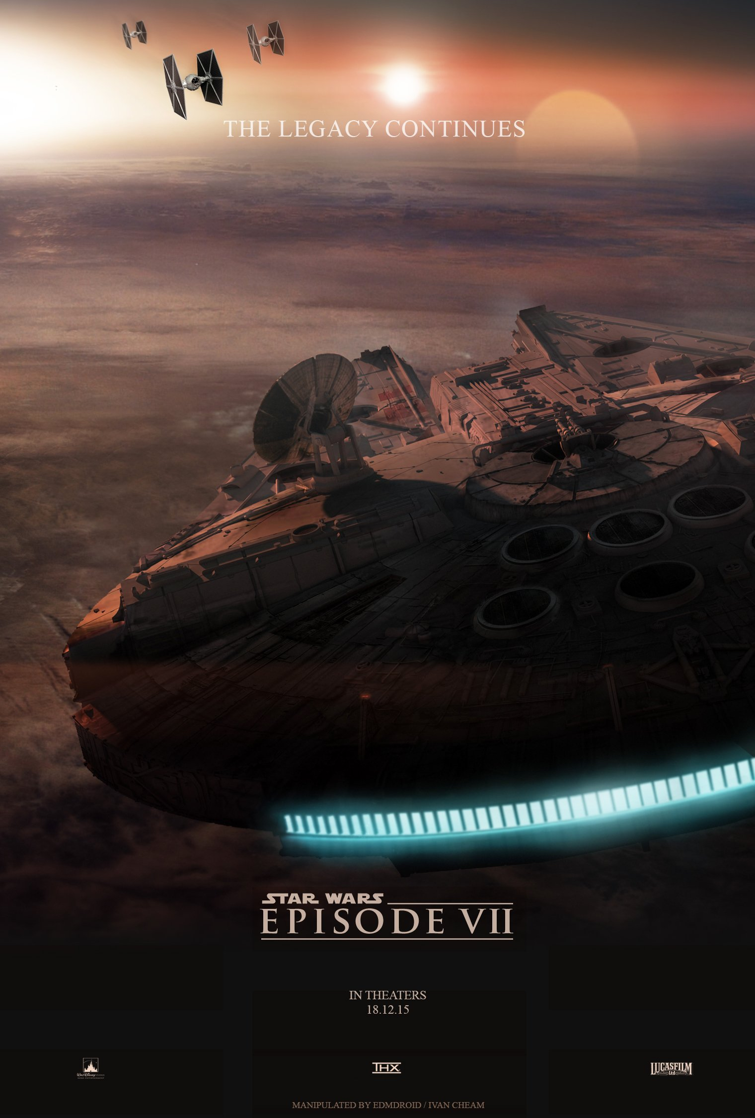 Star Wars Episode 7 Millenium Falcon Poster Fan Made by Ivan Cheam