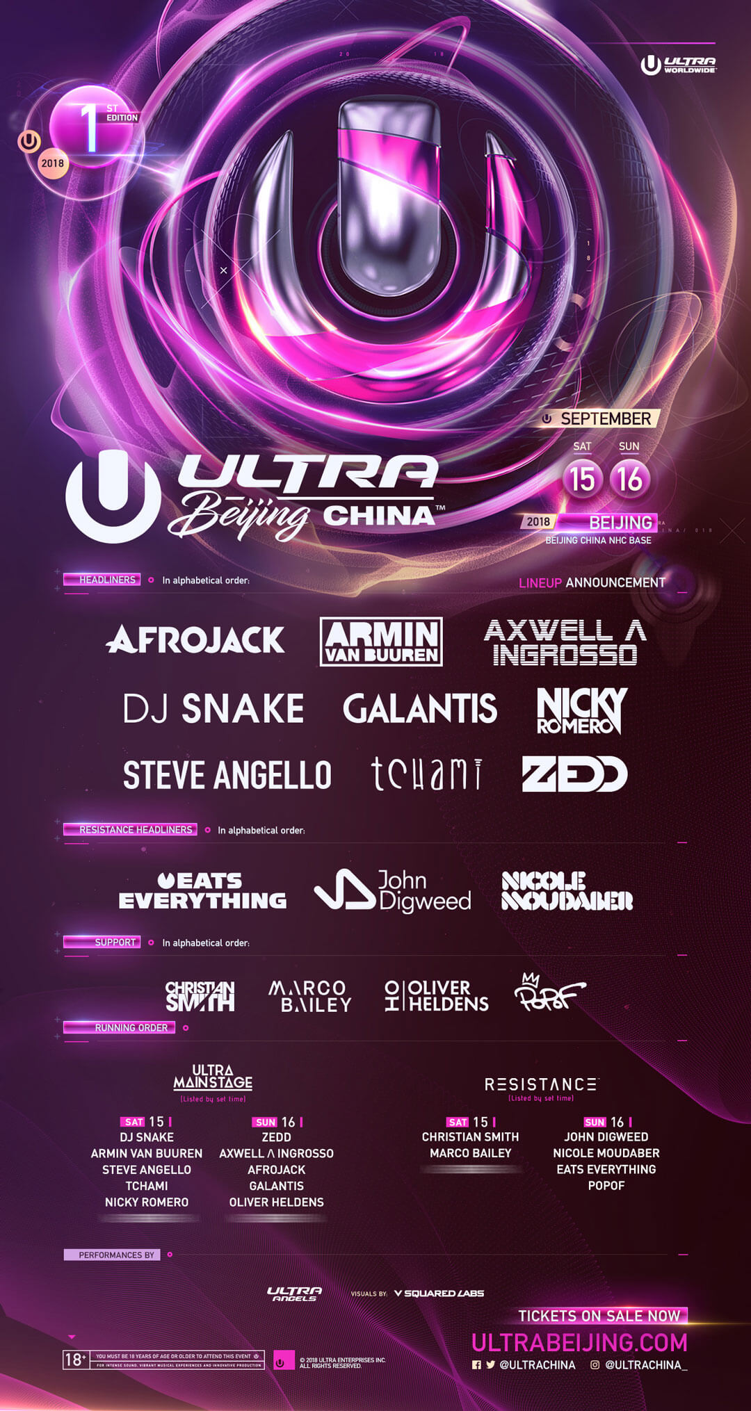 ULTRA China Beijing Lineup 2018
