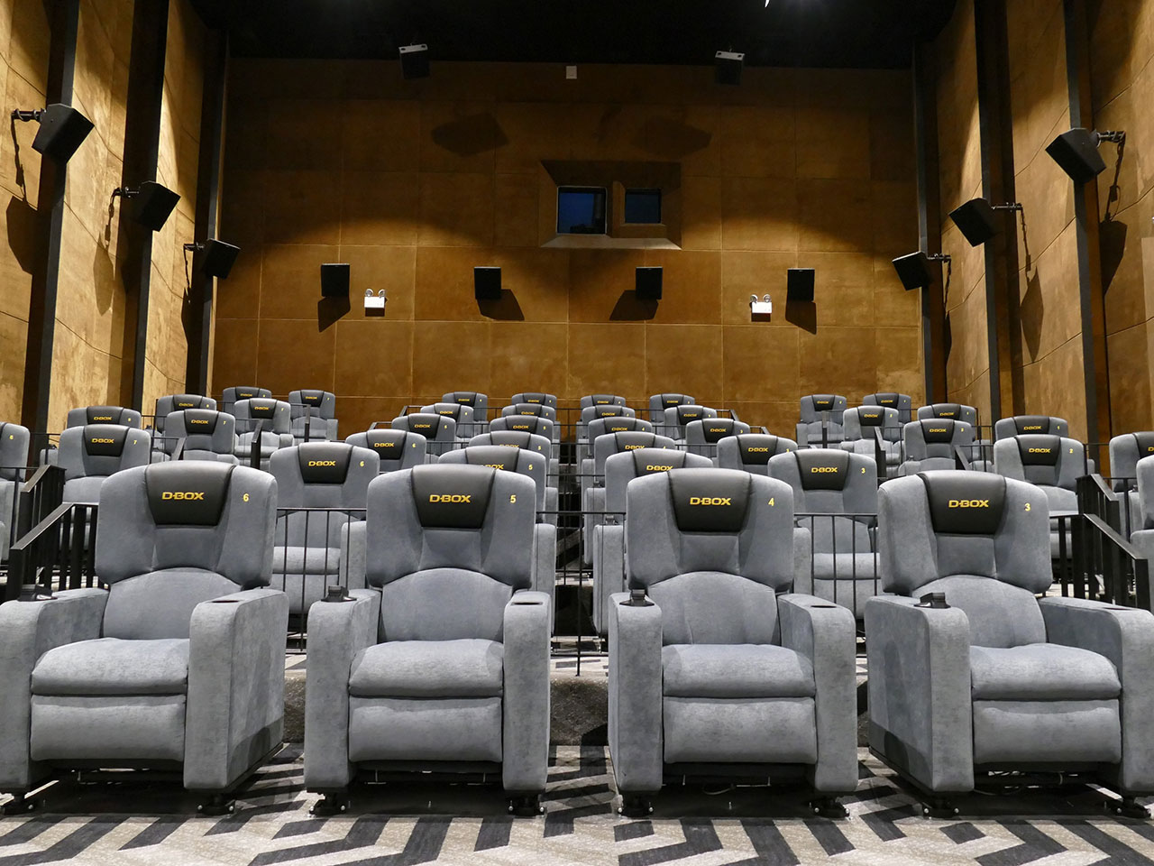 The interior of the Gold Class with D BOX hall at Bona Cinemas